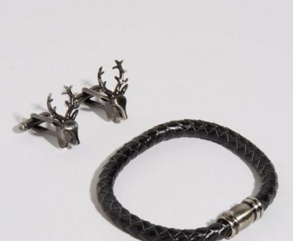 Simon Carter Stag Cufflinks & Leather Bracelet Gift Set